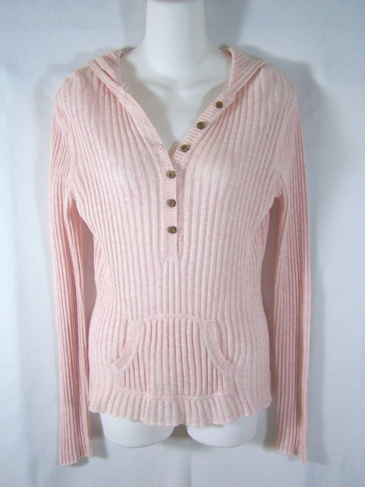 Old navy~pink long sleeve ribbed sweater hoodie shirt top~womens ...