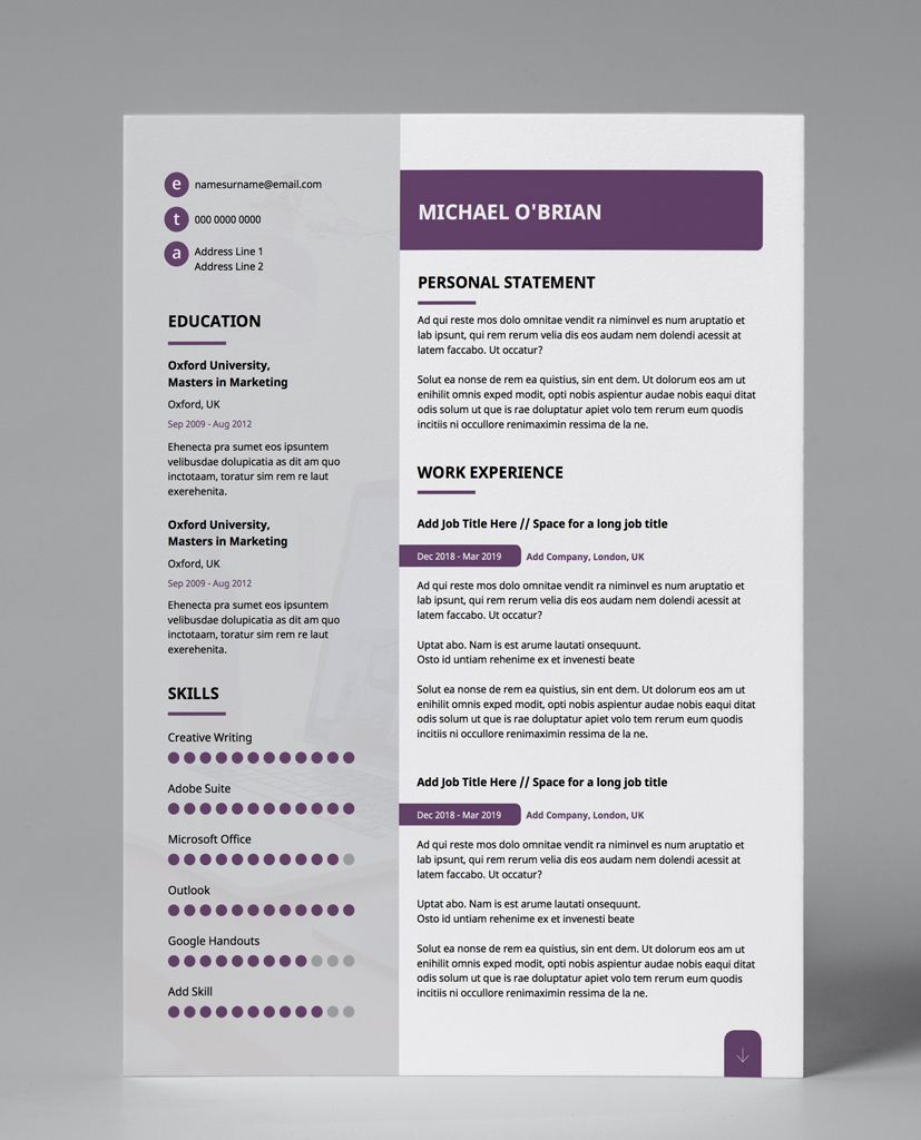 Purple Edge Modern Double Page CV Resume Cv template