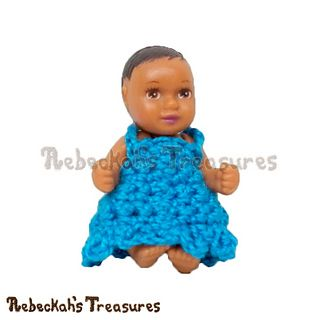 """Simply Bluetiful a beginner's crochet dress series for fashion dolls… The fourth in this series is designed to fit the 1 3/4"""" newborn baby fashion doll by Mattel."""