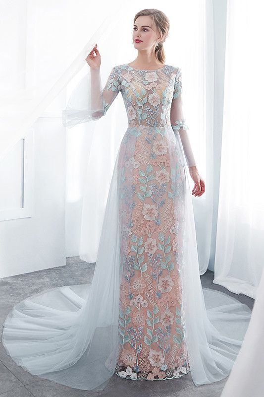 Glamorous Long-Sleeve Blue Evening Dress | Tulle Long Lace Formal ...