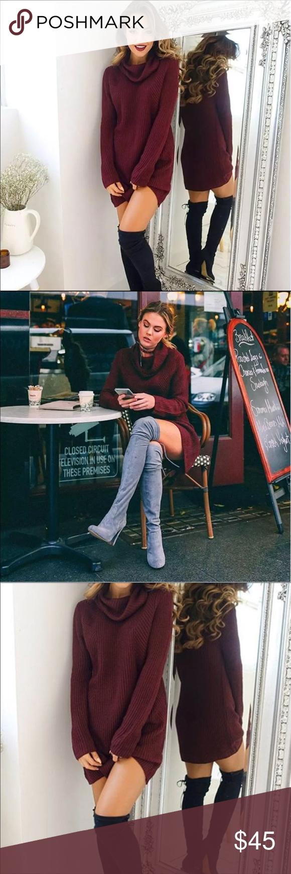 Trendy turtleneck sweater dressburgundy or black long sleeve