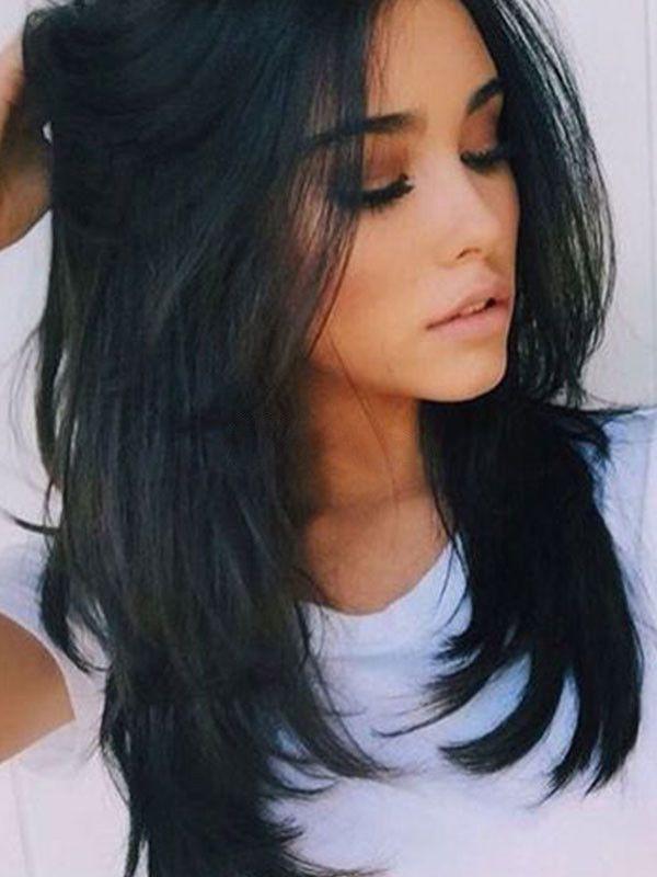 Straightened Long Layered Black Hair 5