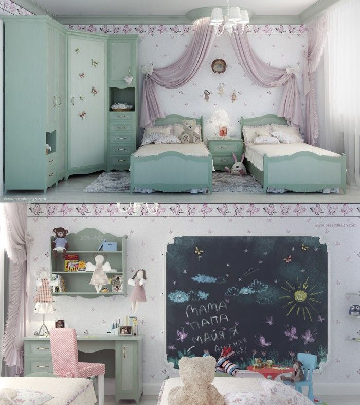 This is a formal bedroom for two young girls with twin beds and a large  armoire
