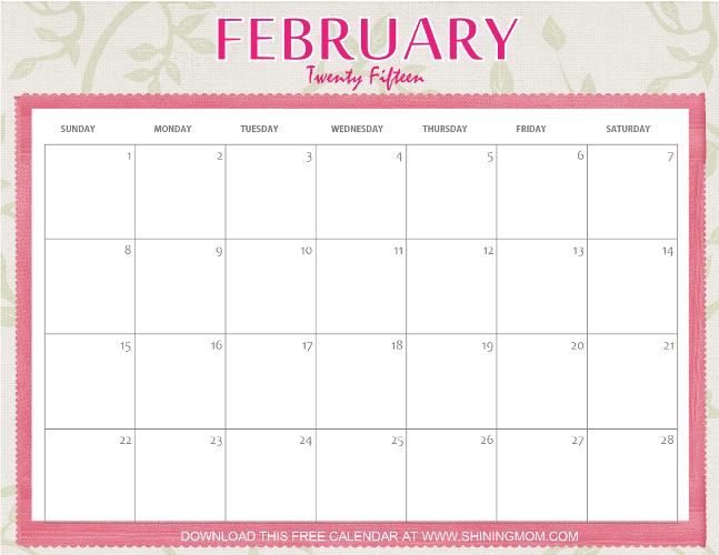 Designs Youll Love Free Printable February 2015 Calendar Free