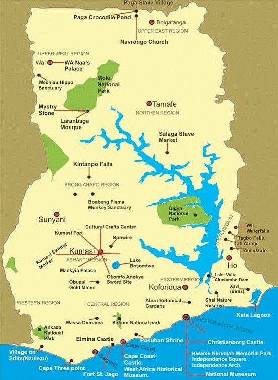 MAP OF GHANA | GHANA PLUS in 2019 | Ghana tourism, Ghana ...