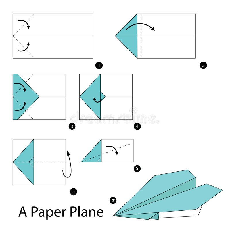 Instrucciones Paso A Paso Cómo Hacer Papiroflexia Un Avión De Papel Stock De Ilustración Aviones De Papel Como Hacer Un Avion Sobres De Papel