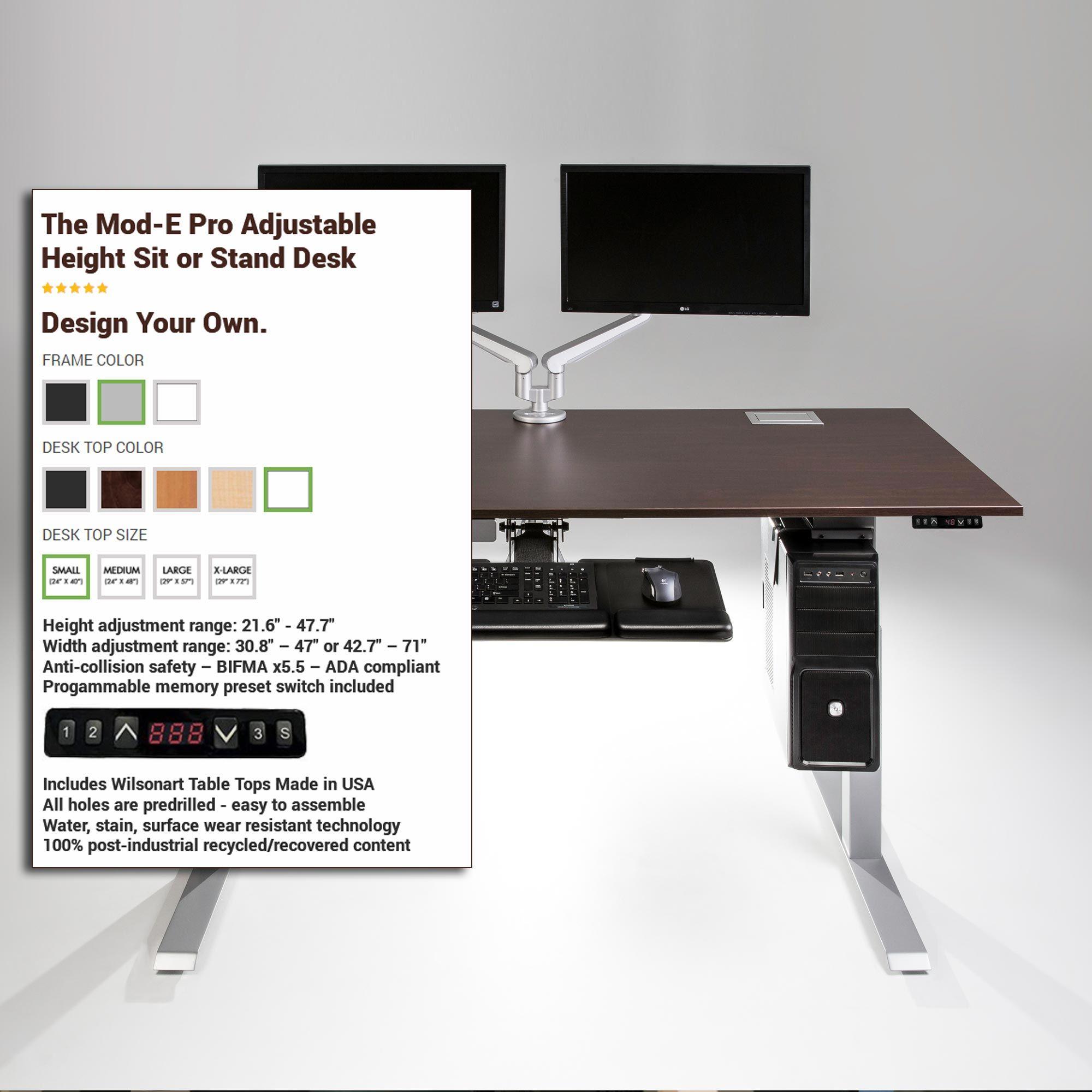 The Mod E Pro Electric Standing Desk Desk Electric Standing Desk Adjustable Height Standing Desk