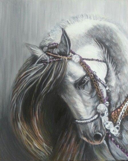 من جديد أعمالي رسم بالاكرليك 2016 لوحة الخيل وسحر الجمال والأصالة Acrylic Painting 2016 Horses Art Painting
