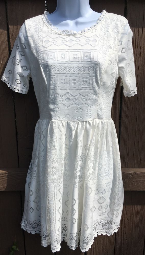 Just Me Nordstrom's White Lace Short Sleeve Dress NWT Large    eBay