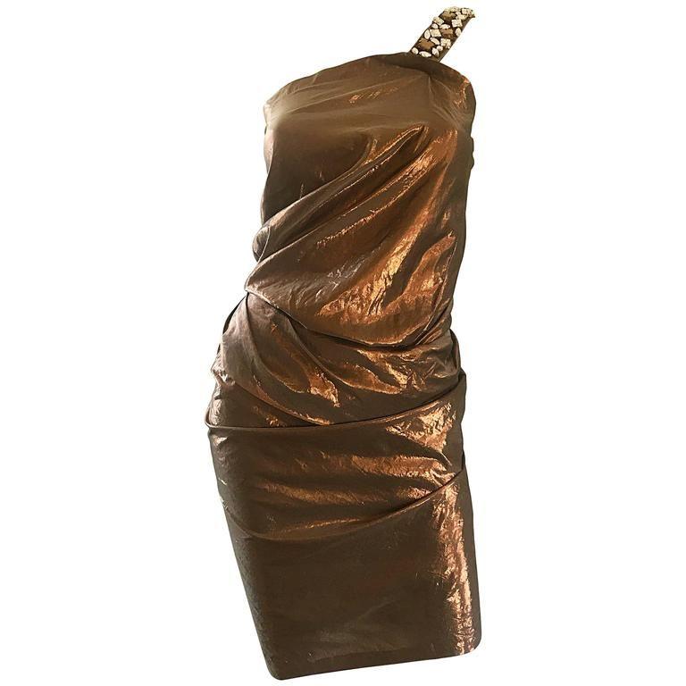 Max Mara Early 2000s Bronze Copper Silk Lame Beaded One