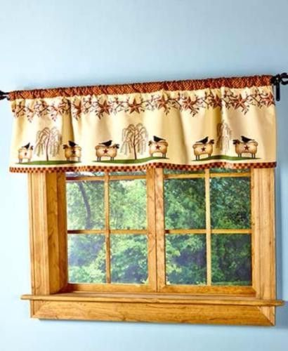 Kitchen Linens Primitive Country Stars Berries Sheep Willow Curtain Valance Country Star Decor Window Decor Decor