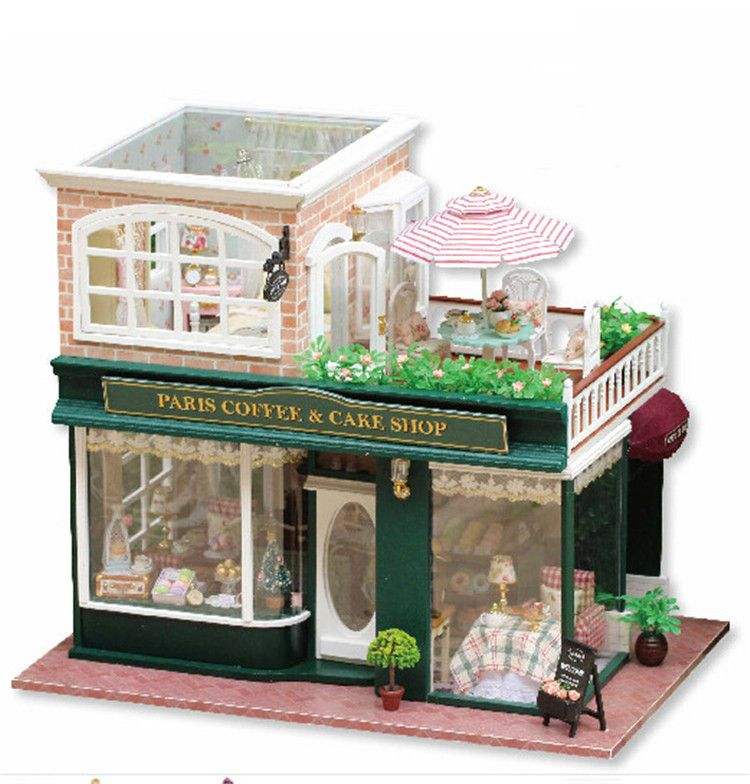DIY Wooden Miniature Dollhouse Kit  Sweet Dream House Model With Dolls  /Plastic Cover Case/LED ...