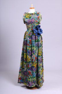 1970's Monet Inspired Chiffon Floral Vintage Gown