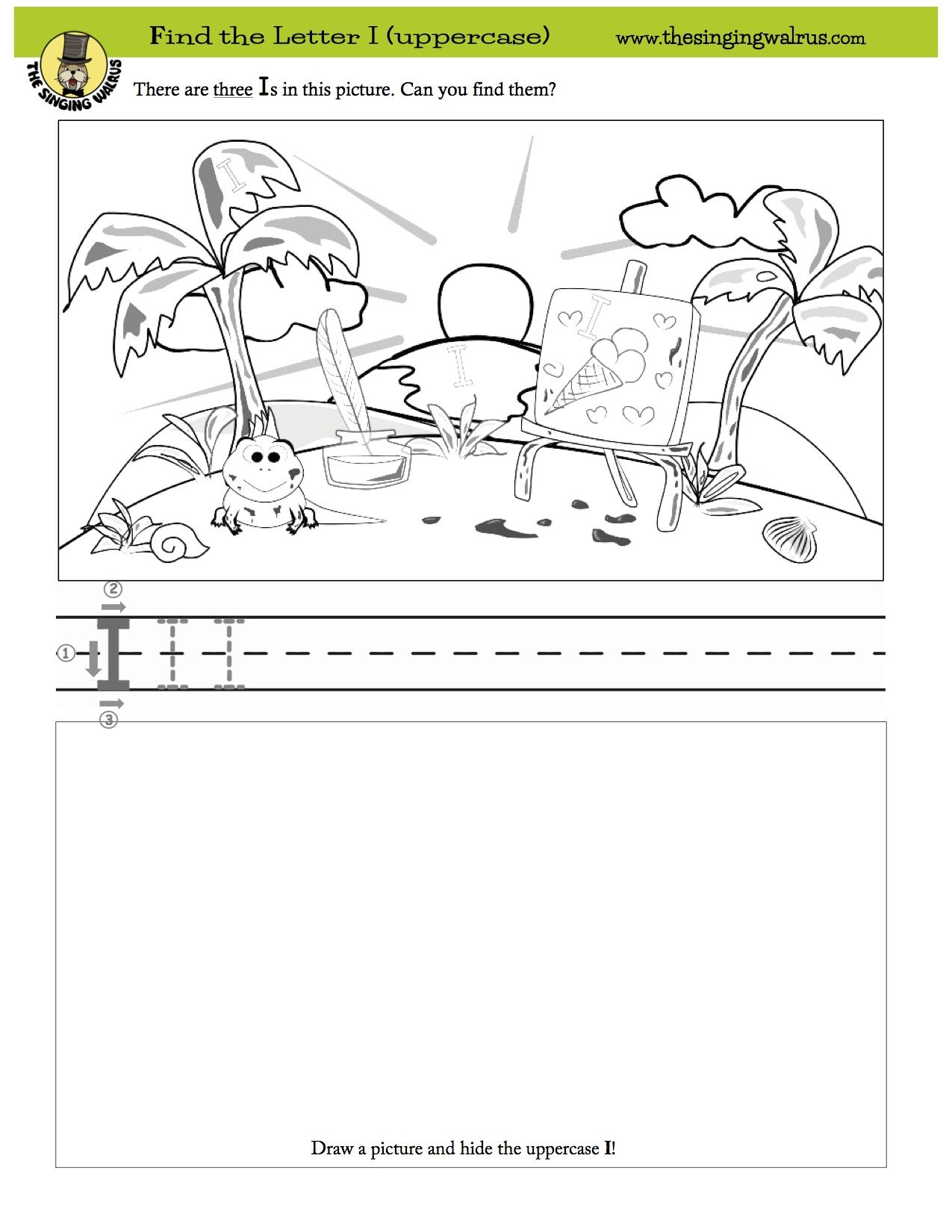 An Iguana On An Island Doing An Illustration Of Ice Cream Can You Spot The Hidden Letter I In