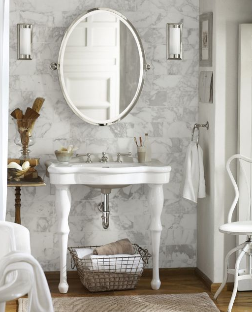 Awesome Parisian Pedestal Sink With Carerra Marble Subway Tiles On Wall