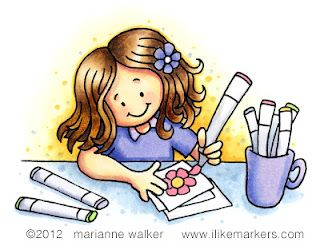 Color with me! http://ilikemarkers.blogspot.com/  Like the bright yellow around her...