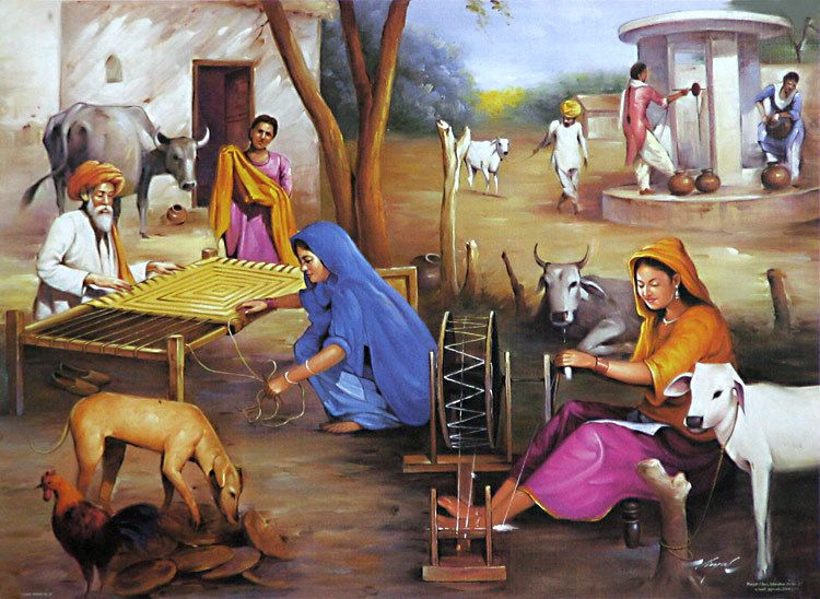 Village Life Of India Village Scenery Painting Indian Village