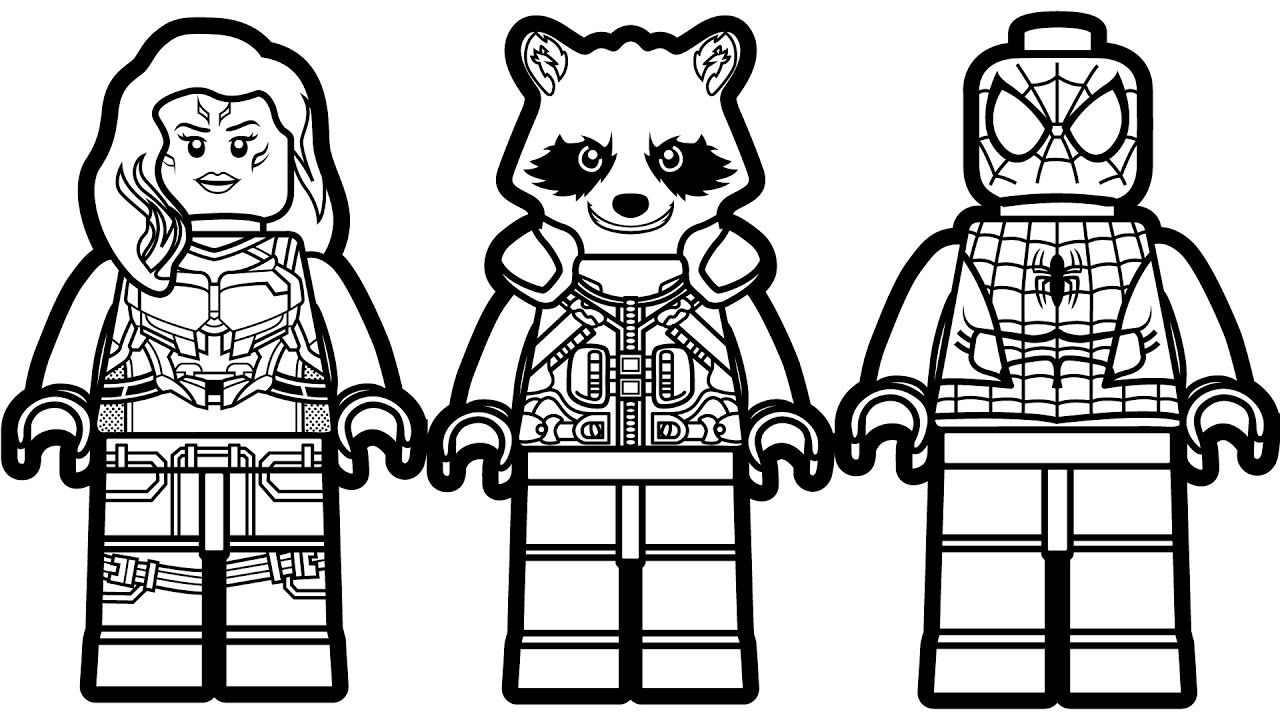 Lego Spiderman vs Lego Rocket Raccoon vs Lego Gamora Coloring Book ...