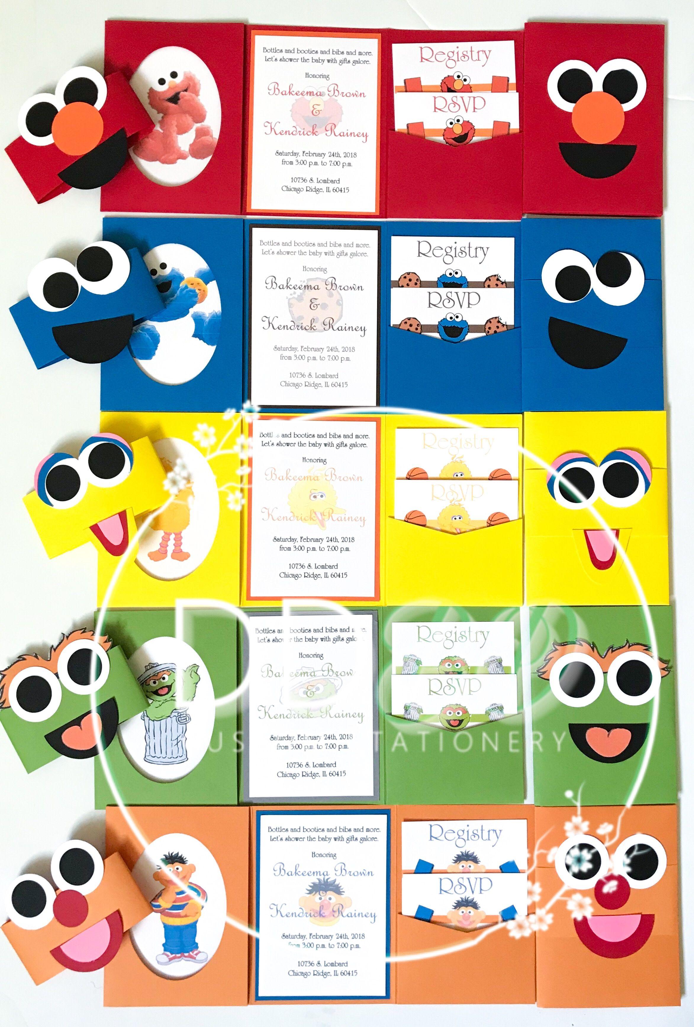 Sesame Street inspired baby shower invitations. Cookie Monster, Elmo ...