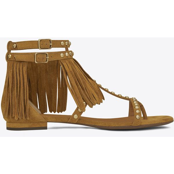 87ed6a033 Saint Laurent Nu Pieds Fringed Flat Sandal In Tan Suede And Gold-Toned...  ( 995) ❤ liked on Polyvore