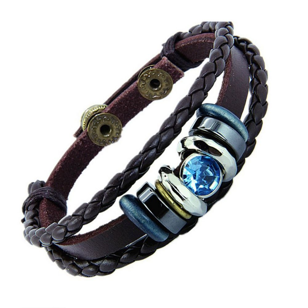 Fashion national braided leather bracelet wholesale leather lovers