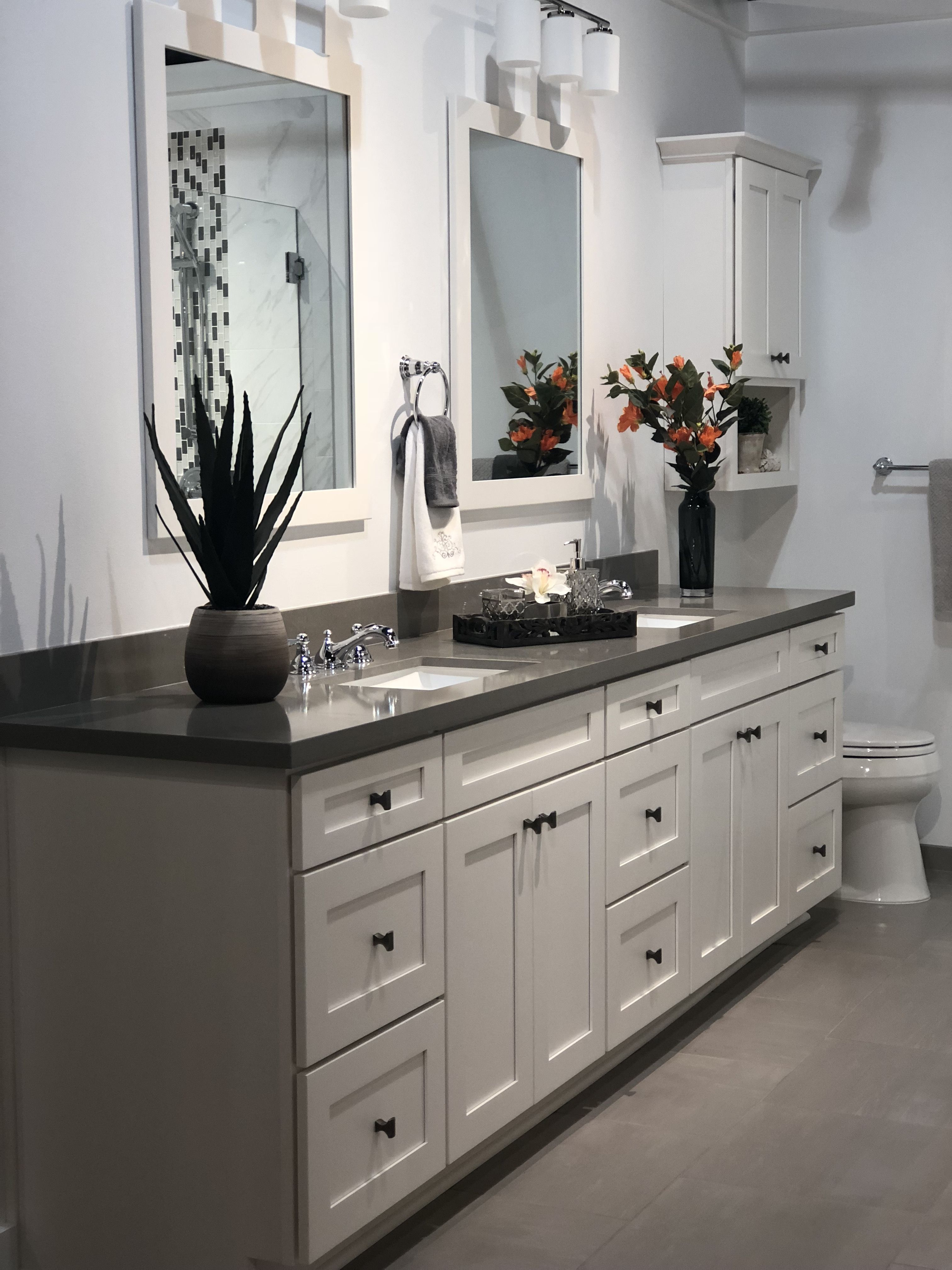 Bathroom By Kathleen Jones Double Vanity Bathroom Grey
