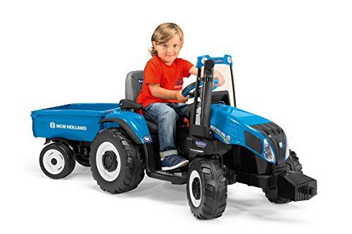 Bring Fun To Farming With The New Holland T8 Little Farmers Will Enjoy The Signature New Holland Blue Of This 12 Vol New Holland Tractor Ride On Toys Tractors