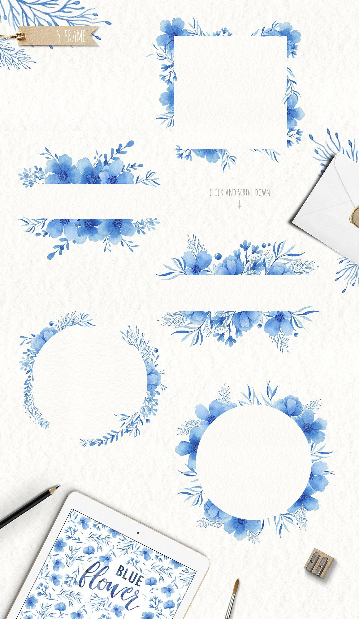 Watercolor blue flower clipart  by Arina Ulyasheva on @creativemarket #blueflowerwallpaper