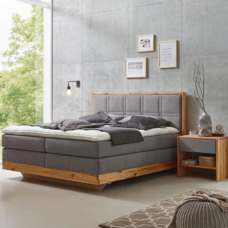 Boxspringbett Aus Holz Mit Grauer Matratze Boxspringbett Bett