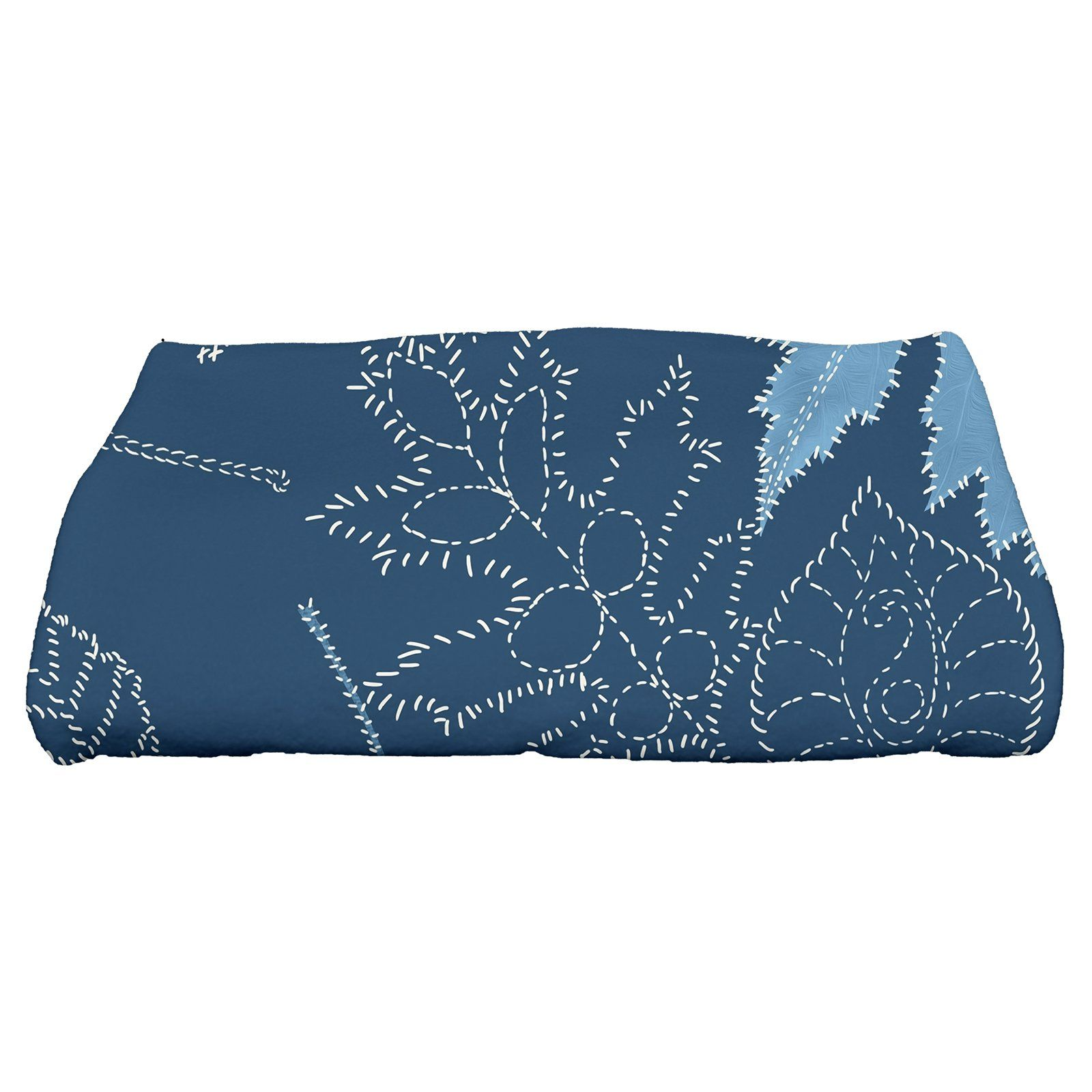 E By Design Flipping For Fall Dotted Leaves Bath Towel Blue In