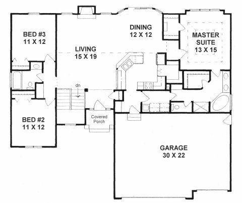 Plan 1602 3 split bedroom ranch w walk in pantry for Three bedroom ranch floor plans