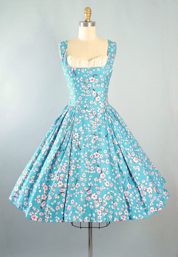 e464cf50dce Vintage 50s Sundress   1950s Dress CHERRY BLOSSOM Pink Floral Turquoise  Blue…
