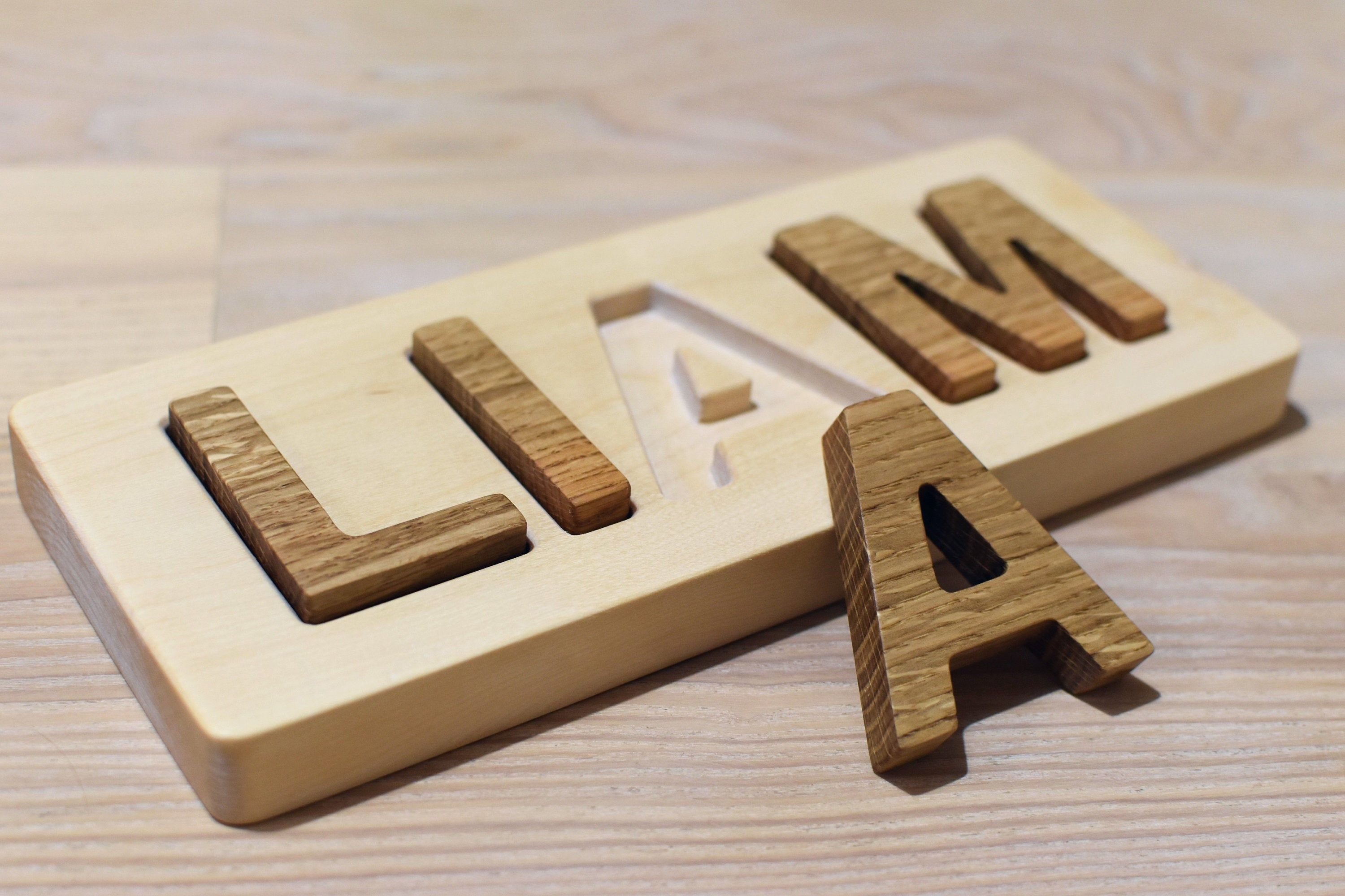 Wood Name Puzzle Personalized Wood Letter Puzzle Learning