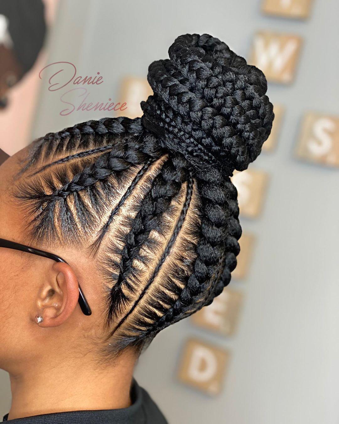 Pin By My Info On Box Braids In 2020 Braided Bun Styles Hair