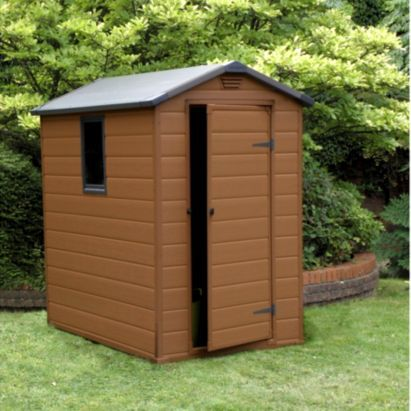 Blooma 6 X 4 Brown Plastic Shed Home Delivered 5397007006261 Plastic Sheds Shed Shed Homes