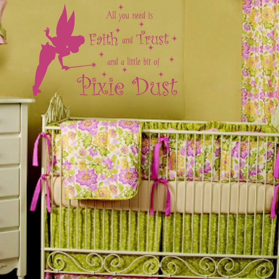 Faith Trust And Pixie Dust Fairy Princess Wall Decal Quote For Girl ...