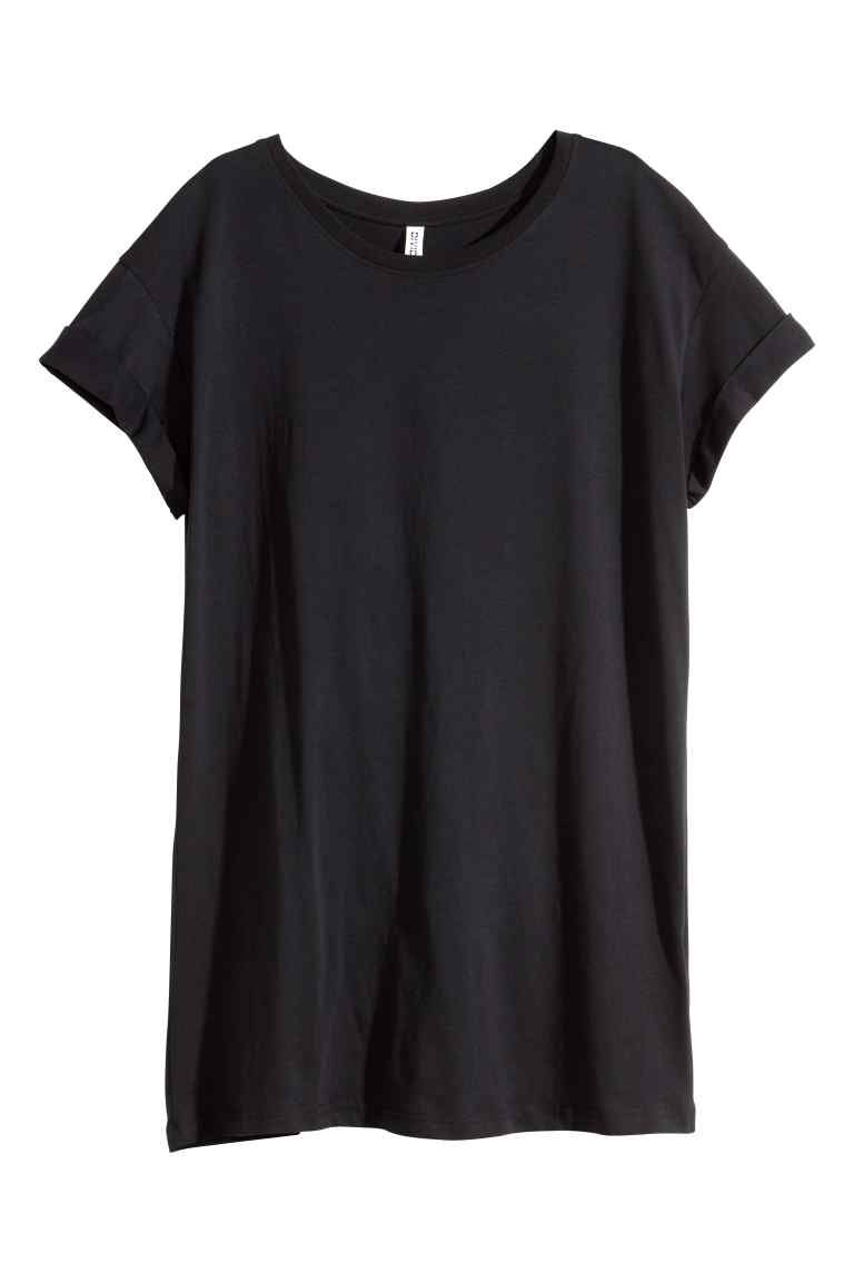 T-shirt long - Noir - FEMME | H&M FR