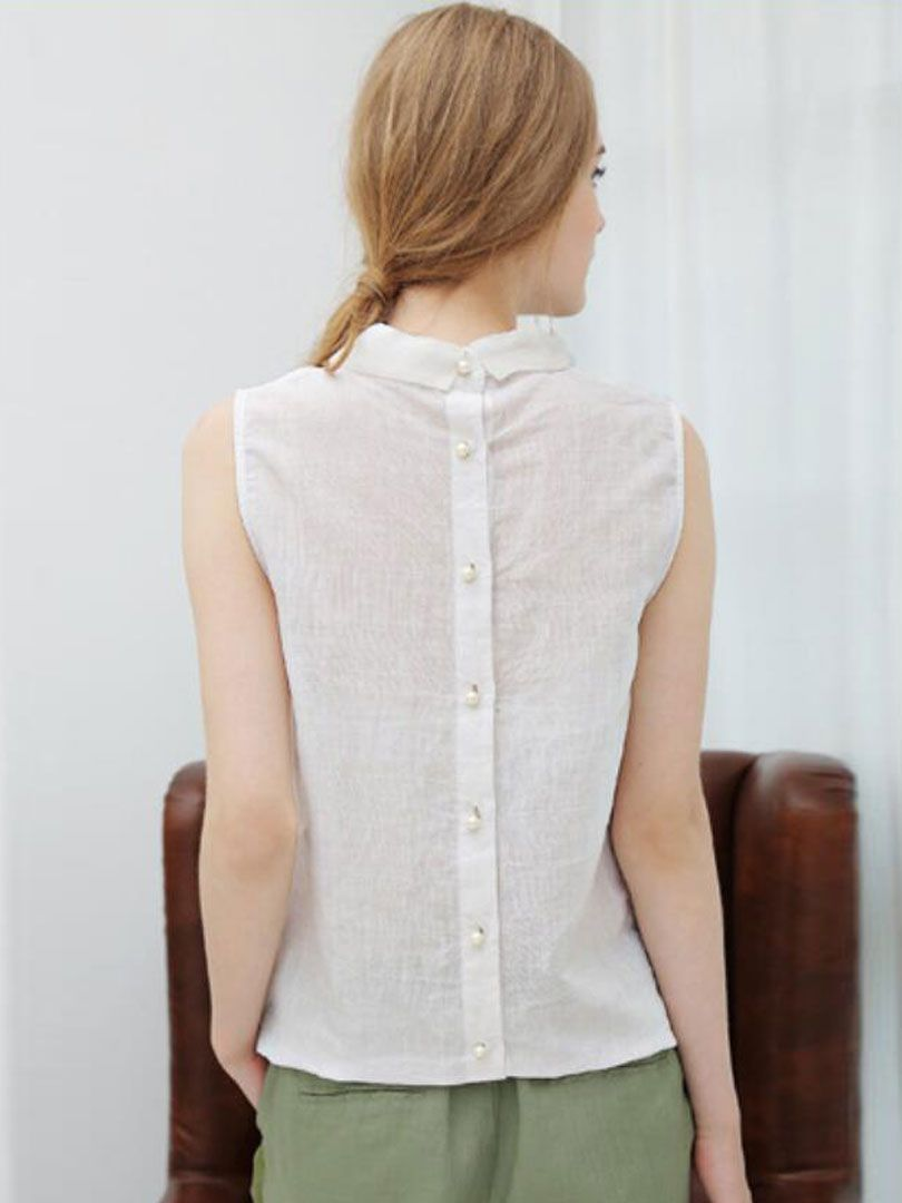 cd7ccd55175f1e Buy White Pointed Collar Button Back Sleeveless Blouse from abaday.com,  FREE shipping Worldwide - Fashion Clothing, Latest Street Fashion At  Abaday.com