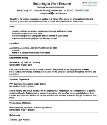 Example Resume For A Homemaker Returning To Work Lovetoknow Return To Work Job Resume Resume Objective Examples