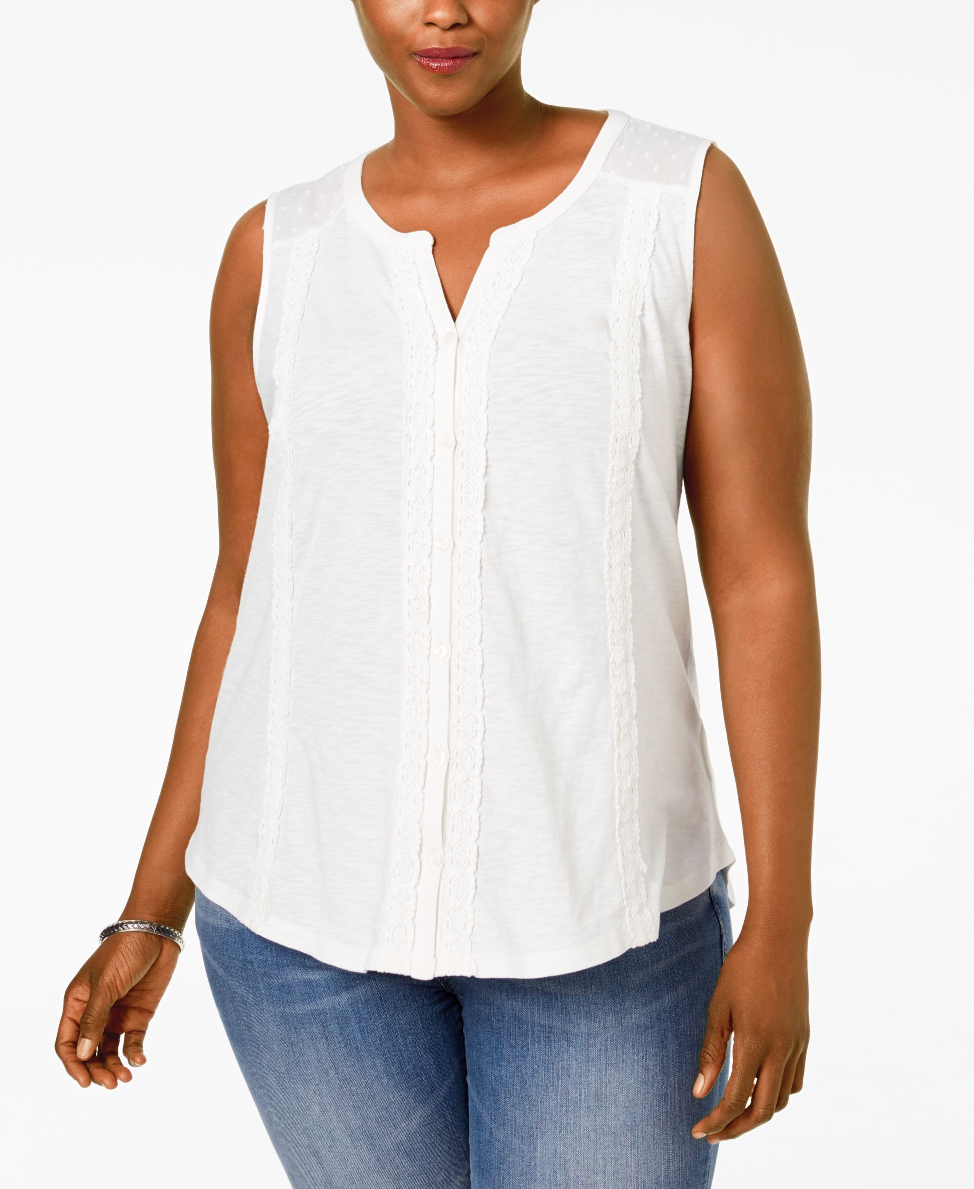 Style Co Plus Size Lace Trim Knit Blouse Only At Macy S