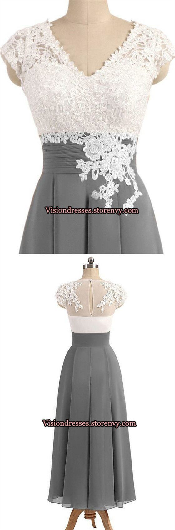 Grey bridesmaid dresses with lace appliques vneck cap sleeves long