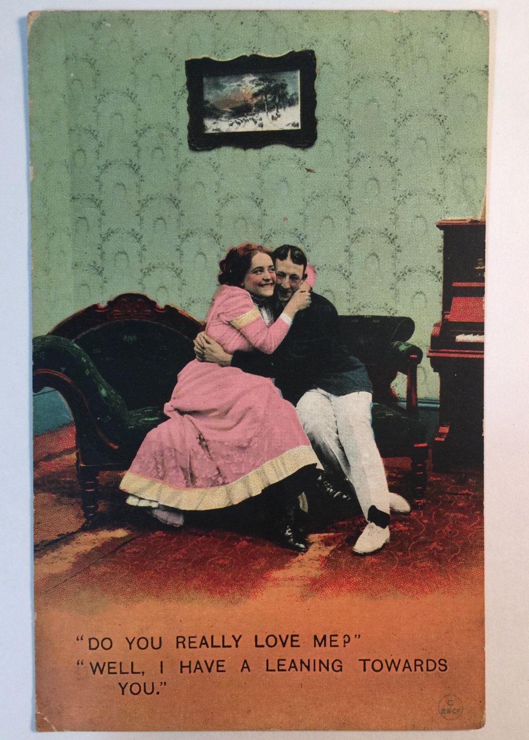 Couple Hugs in the Parlor - Vintage Postcard (1911) by MattiCake on Etsy