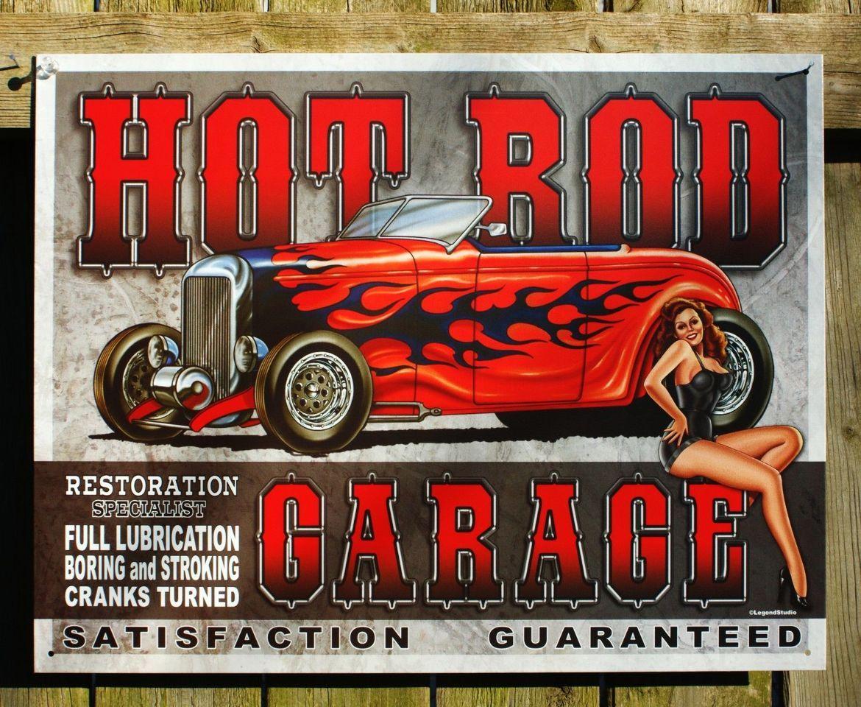 Man Cave Tin Signs : Hot rod garage tin sign man cave pin up girl street