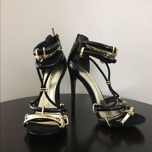 7ea6d815157 Bebe black strappy heels Black Bebe heels with gold metal