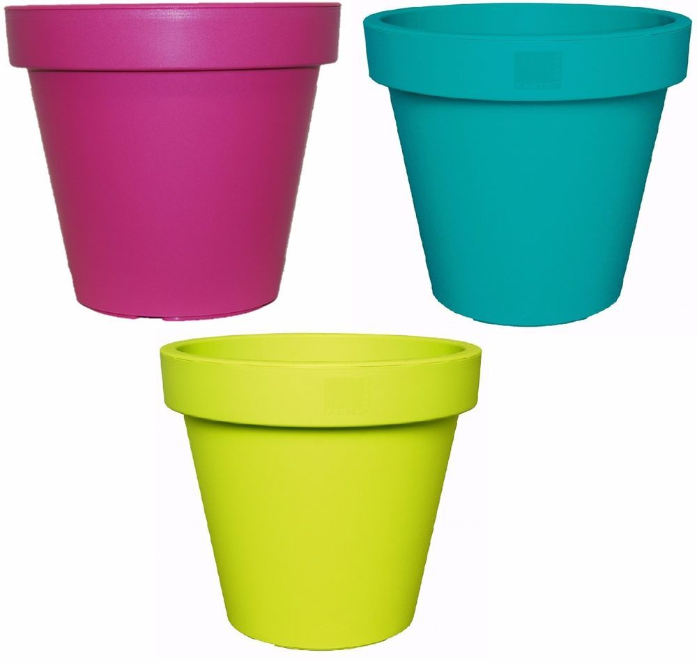 Bright Coloured Plant Pots Large Medium Small Planters Pink Lime Green Teal Ebay Colorful Planters Small Planter Plant Pot Holders