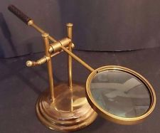 Vintage Large Brass Adjustable Desktop Magnifying Glass On Stand Jewelry Watch Magnifying