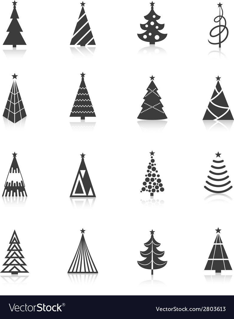 Christmas Tree Icons Black Vector Image On Vectorstock Christmas Tree Graphic Tree Icon Christmas Tree Silhouette