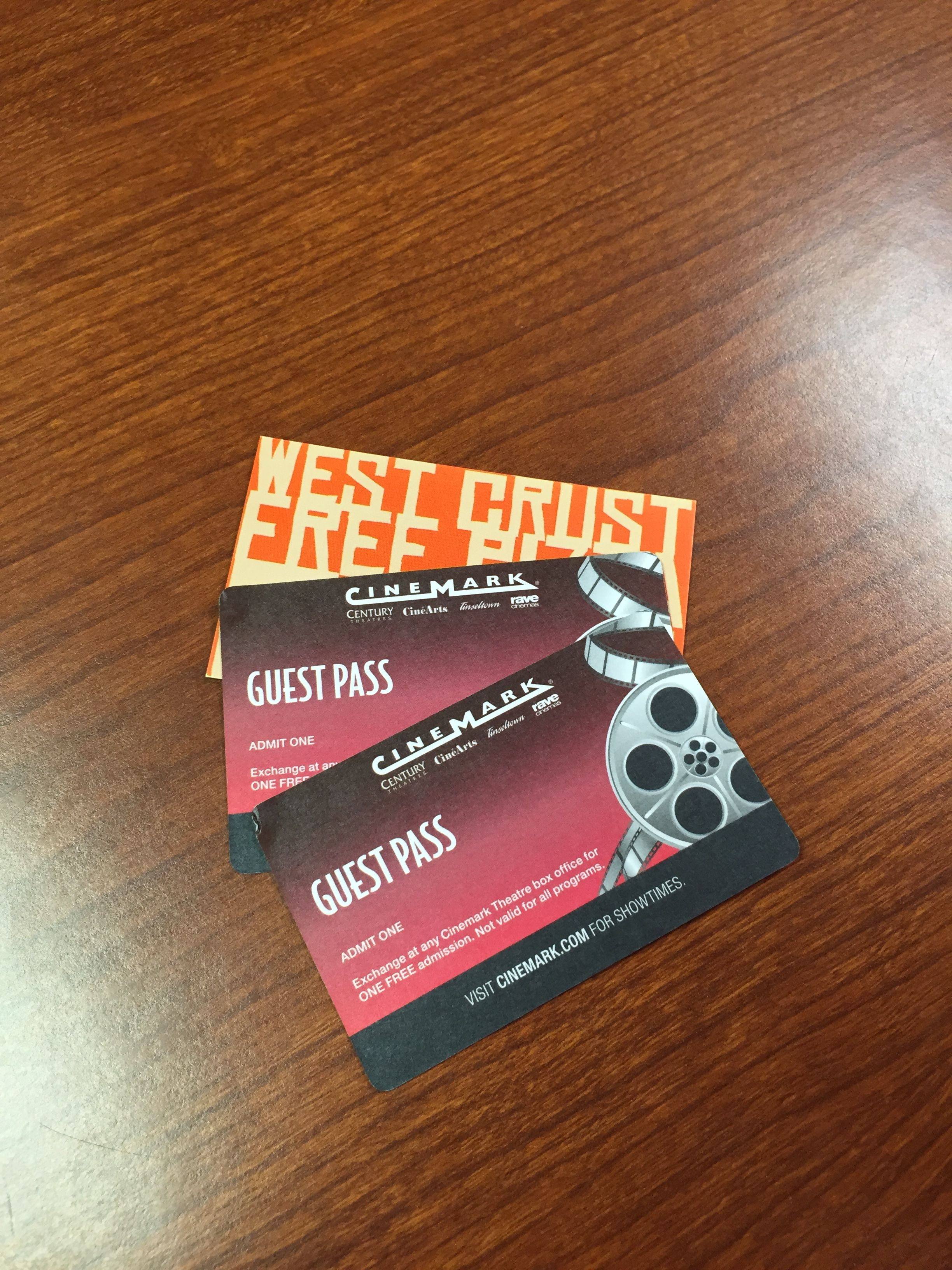 West Crust Pizza Coupon for one free large pizza and Two Free Movie Passes to Cinemark Theaters--Valued at $40.00--Bidding starts at $5.00