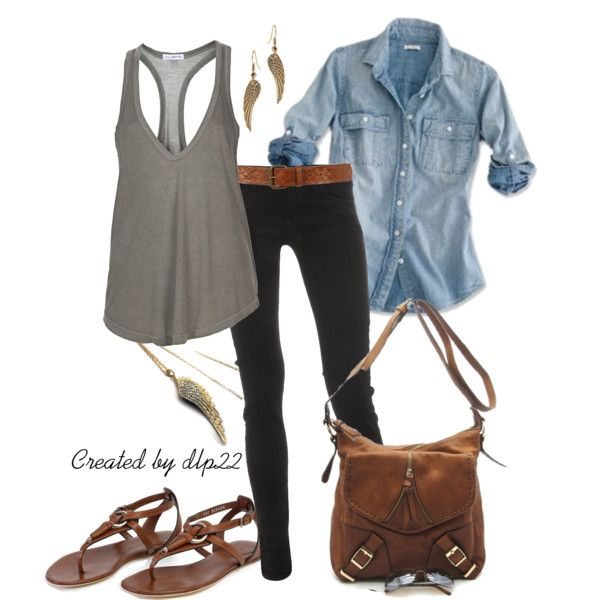 "Black Pants with Denim Shirt and Gray T-Shirt with the Brown Accessories is perfectly cute and casual.  ""Wings"" by dlp22 on Polyvore"