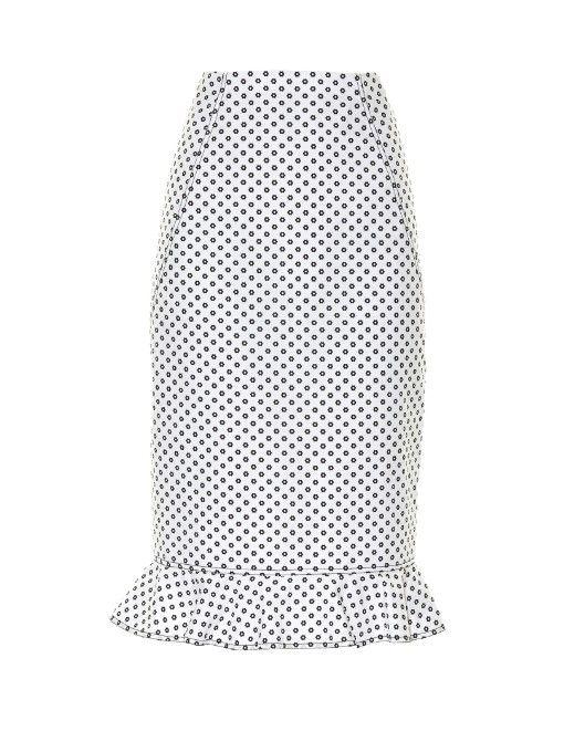 OSCAR DE LA RENTA Daisy-Print Cotton Skirt. #oscardelarenta #cloth #skirt